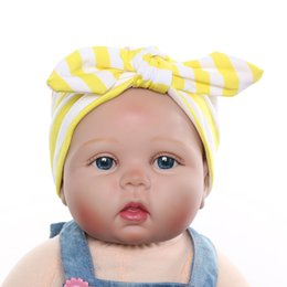Étirement En Gros Pas Cher-Vente en gros - 1 X Hot Sale Baby Girl Kids Soft Stretch Stripe Rabbit Bow Turban Hairband Headband Head Wrap