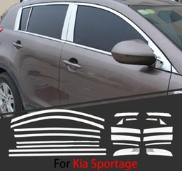 chrome window trims UK - For Kia Sportage 2011-2015 Chrome Covers Chromium Styling Strips Car Full Window Trim With Middle Pillar Decoration Accessories