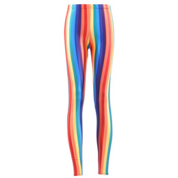 vertical stripes leggings pants Australia - Wholesale- Hot SEXY Women's Rainbow Vivid Vertical Stripes Leggings Digital Print Pants Trousers Stretch Pants Drop Shop
