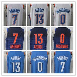 3802303b6c87 ... Top quality Mens 13 paul george jersey 7 Carmelo Anthony 0 Russell  Westbrook 2017-18 ...