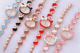 Wholesale 2016 Hot sell Brand Hello Kitty Cartoon watches Women kids hellokitty watches cute girls designer children Quartz WristWatch