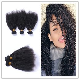 Curly Human Hair For Weaves Canada - Brazilian 9A Human Hair Extensions 4Pcs Lot Afro Kinky Curly Hair Bundles Unprocessed Kinky Curly Hair Weaves For Clack Woman