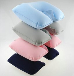 Travel Rest Inflatable Pillow Australia - Cheap Travel kit U-Shaped Inflatable Travel Pillow flocked Neck Rest Pillows Air Cushion outdoor camping sleeping pillow