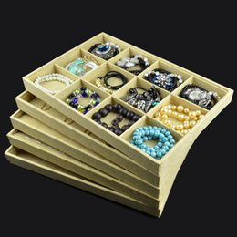 Wooden Ring Display Cases Canada - Popular Jewelry Tray Tc New Storage Case Linen Organizer Counter Pad Jewelry Display Tray for Pendant Necklace Earrings Ring Bracelet