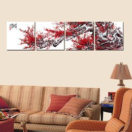 $enCountryForm.capitalKeyWord Canada - Wall decoration Unframed 4 Pieces art picture Canvas Prints Plum potted flower Bamboo Chrysanthemum orchid ancient Chinese architecture