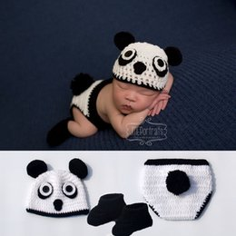 Crochet Baby Star Australia - Baby Newborn Photo Props Knitted Costume Crochet Baby Cap Newborn Baby Panda Shape Photography Props Design Hat BP098