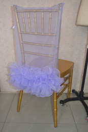 champagne chair organza NZ - 2016 Custom Made Lavender Organza Ruffles Chair Covers Romantic Beautiful Chair Sashes Cheap Wedding Chair Decorations 021