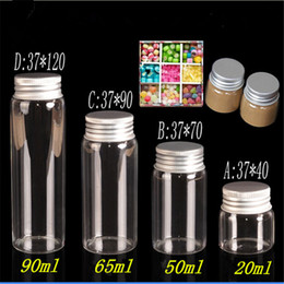 Glasses Storage Canada - 20ml 50ml 65ml 90ml Glass Storage Bottles with Aluminium Cap Empty Gift Bottle Clear Jars Containers 24pcs Free Shipping