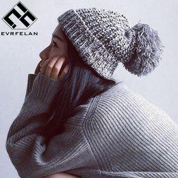 Winter Warm Beanies Canada - Fashion Pom Pom Hat For Women Grils Skullies Women 'S Beanies Warm Knitted Hat Female Winter Cap Brand Women Beanie Hat Wholesale