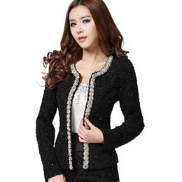Beaded Jackets Women Canada - New Women Autumn-Winter coat short design Elegant Beaded Diamond slim Long sleeve Plus size Small Outerwear jacket