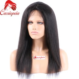 virgin indian remy hair for NZ - Indian Remy Full Lace Human Hair Wigs Yaki Straight Glueless Virgin Hair Light Yaki Full Lace Wig Lace Front Wigs For Black Women
