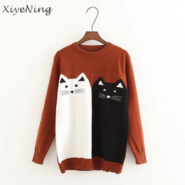 Barato Camisolas Bonitos Do Teste Padrão Do Inverno-Cute Cat Pattern Sweaters Pullovers Mulheres Autumn Winter Warm Knitwear Feminino Casual Elegante Jumpers Tricô Sweaters Pullovers