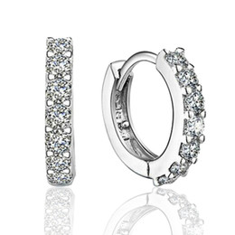 925 sterling silver small hoop earrings with zircon fashion jewelry engagement gift for women free shipping good quality on Sale