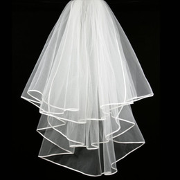 cheap veils for sale NZ - New Hight Qualityr Cheap Best Sale Elbow White Ivory Ribbon Edge Veil Bridal Head Pieces For Wedding Dresses