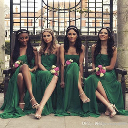 Green Fall Dresses NZ - Charming Split Junior Bridesmaid Dresses Cheap Top Quality Long Custom Made Chiffon Party Dresses Dark green Bridesmaid Gowns For Wedding