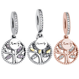 f6ee342f04 Ingrosso BELAWANG 3 Stili 925 Sterling Silver Family Tree Charms Zircone  cubico Ciondolo perline Fit Pandora