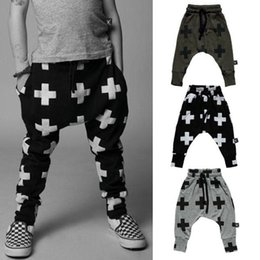 $enCountryForm.capitalKeyWord Canada - Kids Harem Pants Cross Print Kids Trousers For Girls Boys Cotton Pants Baby Toddler Trousers Clothing 3-7T