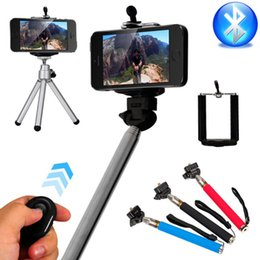 Cellphone Selfie Canada - 4in1 Wireless Bluetooth Remote Shutter + Handheld Cellphone Selfie Stick Monopod + Tripod + Holder for IOS Android iPhone