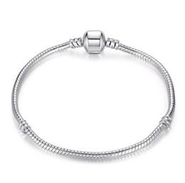 925 Sterling Silver Snake Chain Bracelet for European Clasp Charm Bead Bangle Bracelets Mix Size 17CM-21CM Wholesale on Sale