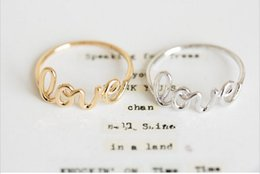Finger rings letters online shopping - 10pcs Gold silver rose gold plated love letter finger rings romantic ring for couples JZ018