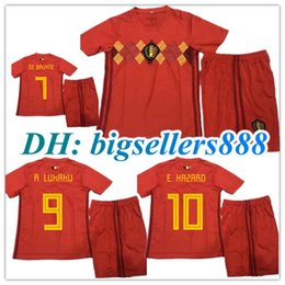 kids 2018 World Cup HAZARD Belgium Home red soccer jersey Kits 18 19 LUKAKU  VERMAELEN KOMPANY DE BRUYNE Belgium Away child football shirts 19c85bd11