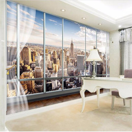 Photo Wallpaper Custom 3D Stereo Latest Outside The Window New York City  Landscape Wall Mural Office Living Room Decor Wallpaper Cheap Outside Wall  Murals Part 25
