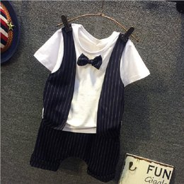 American Tie Wholesale Canada - flower boys formal wedding suit summer short sleeves bow tie 2pcs gentleman suit for kids boy fashion clothing set babe clothes wholesale