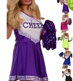 Barato Vestido Preto Roxo Cosplay-Sexy Cheerleading Uniforms Classic Cheerleader Dress Dance Cosplay Costumes para Womens Clothes Club Wear Outfits Black / Blue / Purple / Rose M / L