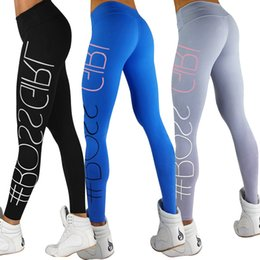 Sport Sex Yoga Pants Canada - Women Sport Sex Yoga Pants Boss Girl Letter Print Capris Elastic Tight fitting Leggings Slim Fitness Pencil Fashion Trousers PWDK9 WR