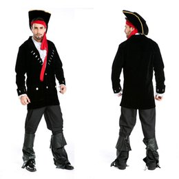 Costumes De Costumes De Couple Pas Cher-Gros-Halloween Adulte Hommes Femmes Couples Amoureux Des Caraïbes Pirate Costumes Uniforme Fantaisie Robe Pirate Capitaine Jack Sparrow Costume Cosplay