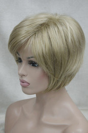 straight blonde wig roots NZ - free shipping Charming beautiful fashion NEW blonde mix with brown root women' short straight wig