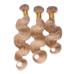 "human hair 27 Canada - 8A Brazilian 27 Blonde Hair Weaves 3Pcs Lot Honey Blonde Body Wave Human Hair Bundles 10""-30"" Hair Extensions"
