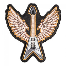 guitar flying v 2019 - Gray Flying V Bass Guitar Patch, Musical Instruments Iron On Or Sew On Embroidered Patches 3*3.25 INCH Free Shipping