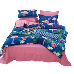 3d Bedding Cartoons Twin Sets Canada - Fashion 3D Cartoon Flamingo Pattern 3D Bedding Sets Duvet Set Twin Full Queen (3pcs & 4 pcs ) Size Polyester King Size Bedspreads