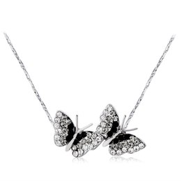 snake chain silver pendant UK - HighQuality Neoglory Fashipn Jewelry Double Butterfly chase Crystal Silver Necklace For Women Black and White Drop Shipping NJ-0003