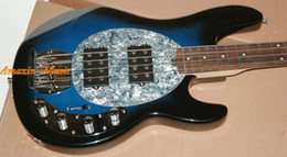 Chinese  Music Man Sabre 4 Strings Bass Erime Ball StingRay Electric Guitar Blue Maple Neck 9V Battery Active Pickups White Mother of Pearl Pickguard manufacturers