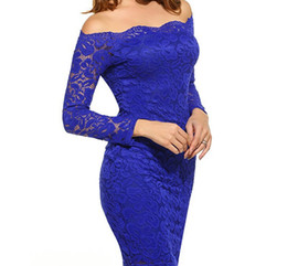 Wholesale bodycon lace dress resale online - Women Party Dress Christmas Lace Slash Neck Dresses Long Sleeved Bodycon Dresses Sheath Hip Up Clothes