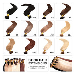 """Natural Keratin Capsule Prebonded I Tip Hair Extension flat tip hair extension 18""""20""""22""""24"""" 50grams set 13colors available 100pcs set on Sale"""
