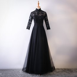 Really Dresses Australia - Really Photo Black Lace And Tulle High Neck Three Quarter Sleeves Zipper Floor Length Ball Gown Mother of the Bride Dresses Prom Dress