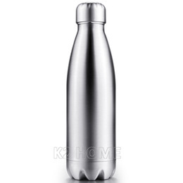double wall stainless water bottles UK - Wholesale- Vacuum Insulated Water Bottle 500ml Bowling Cola Shape Travel Mug Double Wall Sport Bottle Keep Drink Hot and Cold for Outdoor