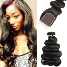 $enCountryForm.capitalKeyWord Australia - 7A Brazilian Hair Bundles with Closure 8-30 Double Weft Human Hair Extensions Dyeable Hair Weaves Closure Body Wave Wavy Free Shipping