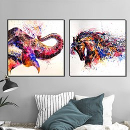 Elephant Horse Animal Oil Painting Wall Decoration Painting Poster Home  Decor Canvas Painting Prints For Living Room Bedroom Horse Bedroom Decor  Outlet