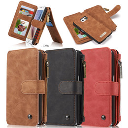 Plain Red Cell Phone Case Canada - iPhone 7 iphone 6s plus note7 case CASEME luxury genuine leather wallet case kickstand cards slot 2-in-1 zipper cover for iphone 7 6s plus