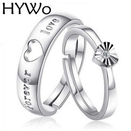 HYWo 1pair 2pcs Fashion Lover's Heart Couple Rings for Women Men Wedding  Engagement fit women pandora rings Silver Plated Jewelry wholesale