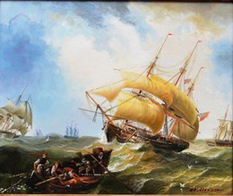 Oils Art Canada - Framed OLD SAILING WARSHIP IN THE STORM SEA Free Shipping Perfect Hand-painted  HD Print Seascape Art oil painting On Canvas Multi sizes