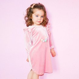 Barato Vestidos De Luxo Menina-Little Baby Girls Velvet Dresses Toddler Moda Ruffles Dress Infant Kids Girls Autumn Luxury Dress 2017 Baby Clothes