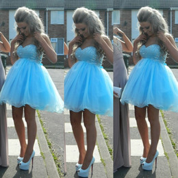 Wholesale Light Sky Blue Empire Short Graduation Dresses Sweetheart Beaded Mini Sexy Cocktail Party Dress
