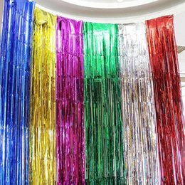 Discount hang curtain wall - Free Shipping Colorful Laser Rain Curtains Ribbons for Wedding Baby Shower Birthaday Christmas Backdrop Wall Hanging Dec