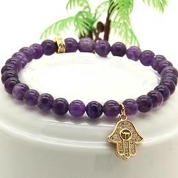 good quality rings 2019 - Hot Sale 6mm Natural Good Quality Stone Beads Micro Pave Zircons Fatima Hamsa Pendant Bracelets Girl cheap good quality