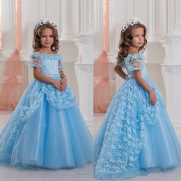 Robe De Dentelle De Fille De Fleur Bleue Pas Cher-Robes de dentelle Applique Tulle long Pretty Little Girls Girls de 2017 Lumière Sky Blue Pricess Flower Girls Robes Robes de soirée de mariage Pageant